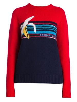 Banana-Intarsia Crewneck Long-Sleeve Wool Sweater, Red