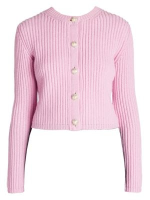 96658875a Miu Miu Embellished Ribbed Cashmere Cardigan In Baby Pink