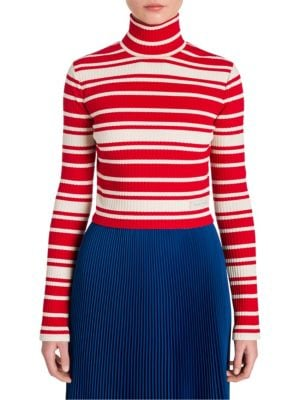 Striped Rib-Knit Turtleneck Sweater - Red Size 38 It