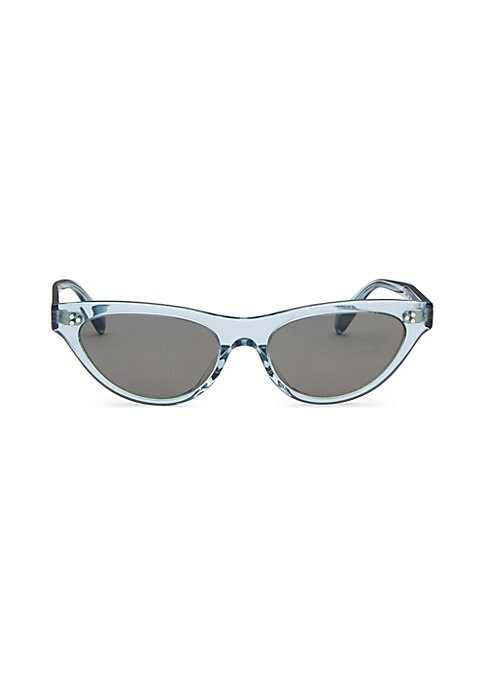 Image of Fashion-forward cat eye sunglasses with clear frames.53mm lens width; 17mm bridge width; 145mm temple length. Acetate. Made in Italy.