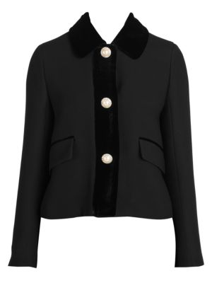 Three-Button Cropped Jeweled Cady Jacket, Black