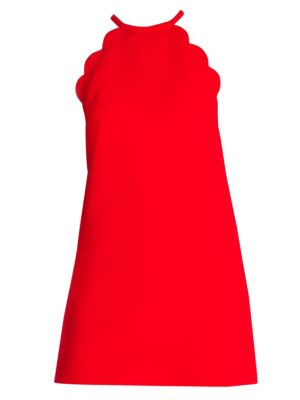 High-Neck Scalloped Sleeveless A-Line Cady Dress, Red