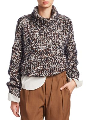 BRUNELLO CUCINELLI Turtleneck Long-Sleeve Velvet Effect Tweed Paillettes Mohair-Blend Sweater in Navy
