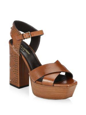 Farrah Studded Leather Platform Sandals, Caramel