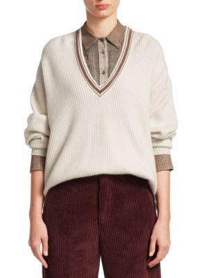 BRUNELLO CUCINELLI Bead-Embellished Ribbed Cashmere Sweater in Ivory