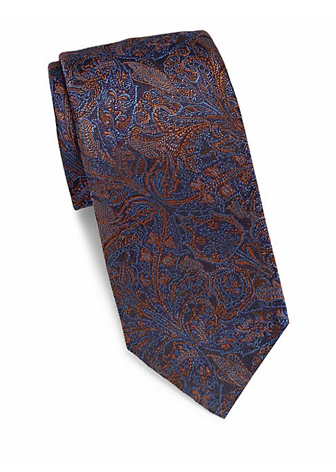 "Image of Woven silk tie flaunts timeless paisley print. About 3"" wide. Silk. Dry clean. Made in Italy."
