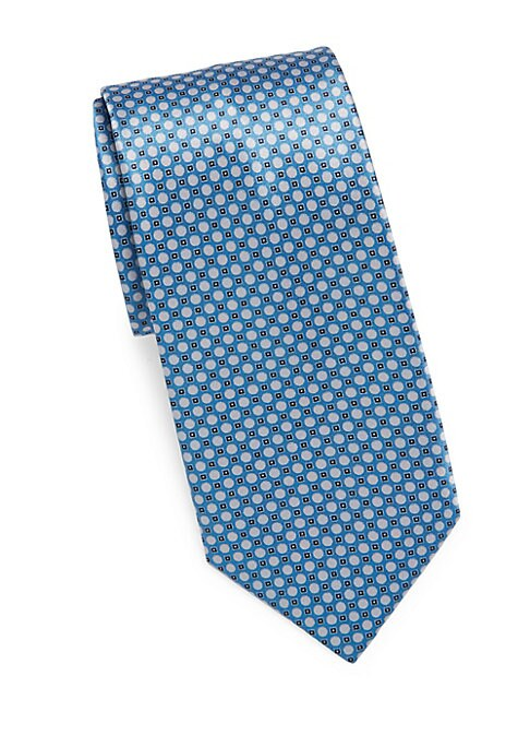 "Image of Geometric print pops against bright silk tie. Width, about 3"".Silk. Dry clean. Made in Italy."