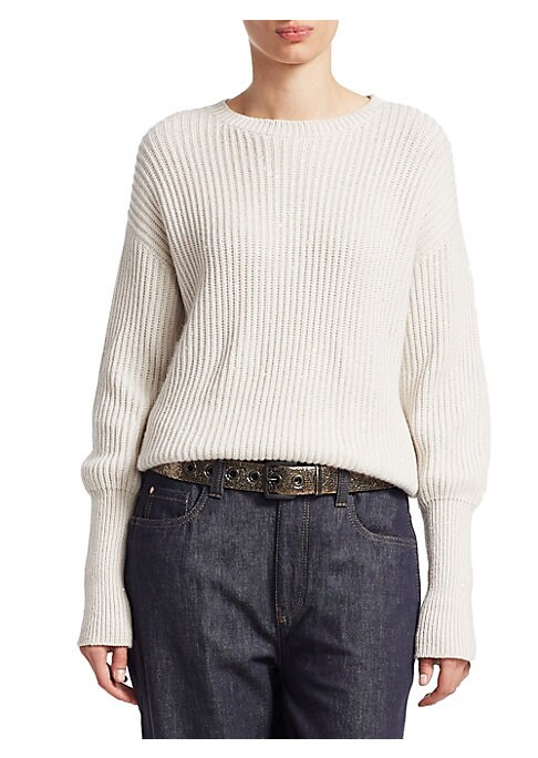 Image of A boyfriend fit, rib-knit pullover with elongated, foldable cuffs. Crafted from luxe, cashmere-silk, wear this versatile top tucked-in with baggy jeans or show-off its banded hem with a pair of skinny trousers. Ribbed crewneck. Long sleeves. Ribbed cuffs