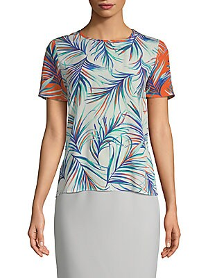 """Image of Trend-savvy silk crepe blouse with allover palm print design Roundneck Short sleeves Self-tie at back keyhole About 24"""" from shoulder to hem Silk Dry clean Imported Model shown is 5'10"""" (177cm) and wearing US size 4. Modern Collecti - Boss Black. BOSS. Co"""