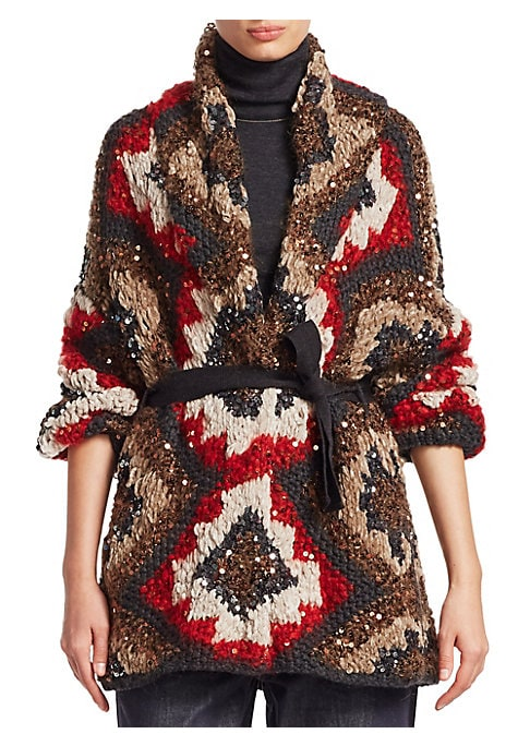 Image of From the Saks IT LIST. PUTTING ON THE KNITS. That favorite-sweater feeling goes from head to toe. This sweeping cardigan features bohemian patterns and sequins. Stunning in visuals and luscious in feel, this cardigan is finished with a self-tie elegance.