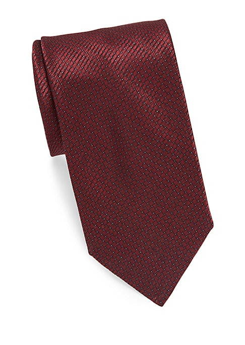 "Image of Luscious silk tie features a geometric houndstooth print.3"" wide. Silk. Dry clean. Made in Italy."