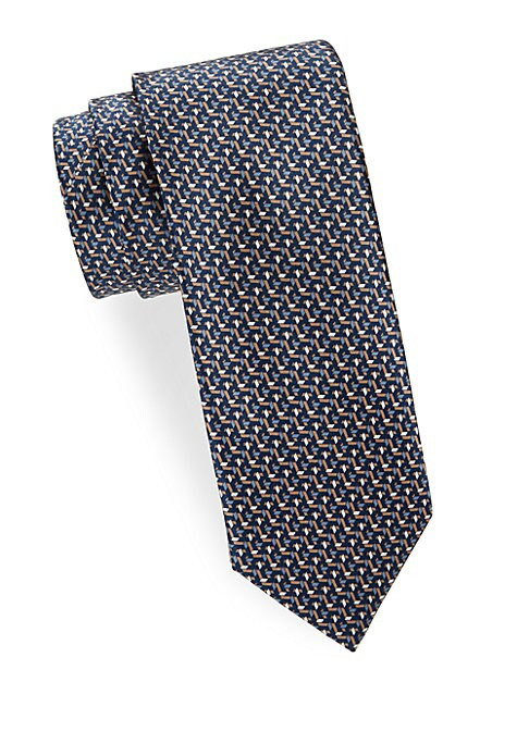 """Image of Luminous silk tie with varied geometric print. Width, about 3"""".Silk. Dry clean. Made in Italy."""