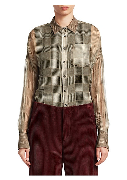 "Image of A classic silhouette in plaid silk, this button-front shirt is finished with a Monili collar. Spread collar. Long sleeves. Button cuffs. Button front. Box-pleated back yoke. Silk. Dry clean. Made in Italy. SIZE & FIT. About 24"" from shoulder to hem. Model"