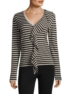 Ruffled Striped Silk And Cashmere-Blend Sweater, Ice