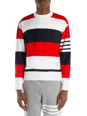 Contrast-Stripe Cotton-Jersey Sweatshirt, Multi
