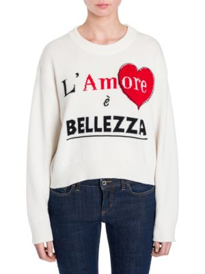 Cashmere Cropped L'Amore È Bellezza Sweater, Ivory