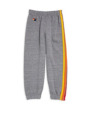 Image of Comfy cotton-blend sweatpants with embroidered side stripes Elasticized waist Elasticized cuffs Cotton/polyester/rayon Machine wash Made in USA. Children's Wear - Contemporary Children > Saks Fifth Avenue. Aviator Nation. Color: Heather Grey. Size: 10.