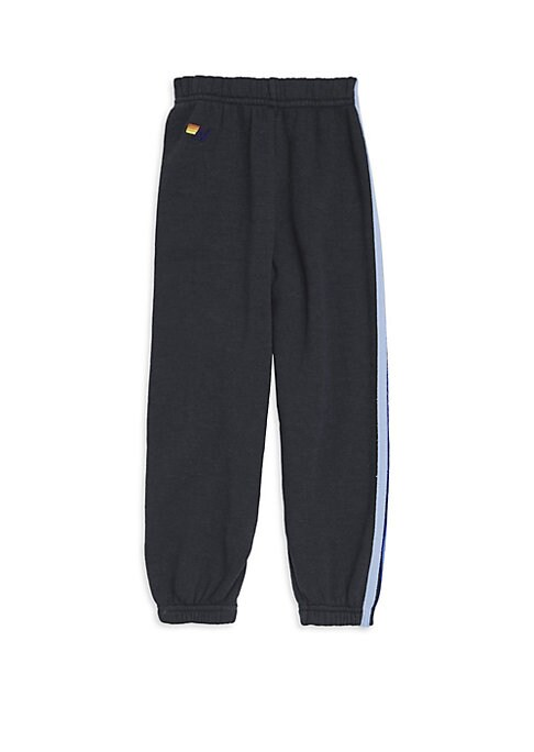 Image of Comfy cotton-blend sweatpants with sporty side stripes. Elasticized waist. Elasticized cuffs. logo embroidery. Cotton/polyester/rayon. Machine wash. Made in USA.