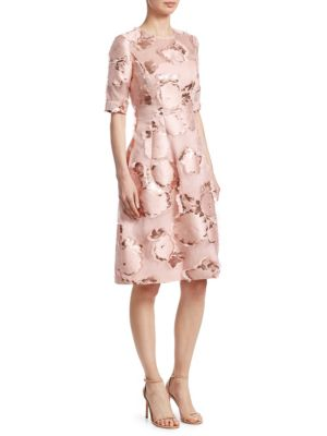 LELA ROSE Holly Floral-Embroidered 1/2-Sleeve A-Line Cocktail Dress in Pink