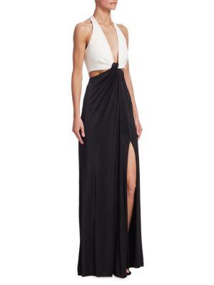 Halter Deep-V Cutout-Waist Leg-Slit Stretch-Jersey Evening Gown, White Black