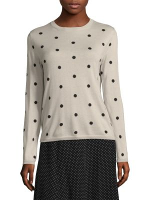 Polka-Dot Silk And Cashmere-Blend Sweater, Ice