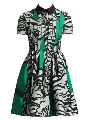 Short-Sleeve Pintucked Pleated Tiger-Print Crepe Couture Dress, Green
