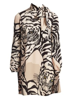 Long-Sleeve Short Tiger-Print Dress In Georgette Silk, Poudre