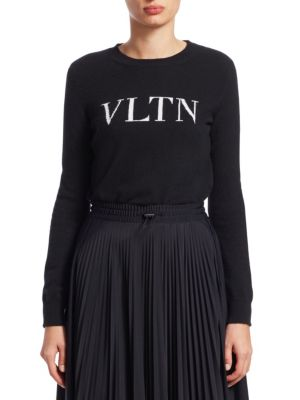 VALENTINO Logo-Intarsia Wool And Cashmere-Blend Jumper, Black