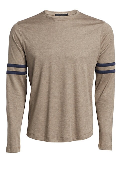 """Image of EXCLUSIVELY OURS. Essential tee with varsity stripes in soft aqua cotton is a wardrobe must. Banded crewneck. Long sleeves. Pullover style. Aqua cotton. Dry clean. Imported. SIZE & FIT. About 30"""" from shoulder to hem."""