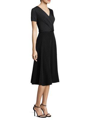 Polka-Dot Silk-Chiffon And Jersey Midi Dress, Black