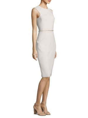Sleeveless Braid Leather Sheath Dress by Max Mara