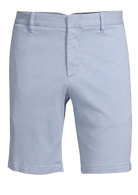 """Image of Enduring chino shorts with a bit of stretch. Belt loops. Zip fly with concealed hook-and-bar closure. On-seam pockets. Back buttoned welt pockets. Rise, about 10"""".Inseam, about 12"""".Tencel/cotton/elastane. Machine wash. Imported."""