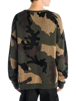 0ace56fdd Off-White Camouflage Cotton-Wool Jacquard Sweater - Beige