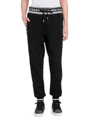 Intarsia-Trimmed Cotton-Jersey Track Pants, Black