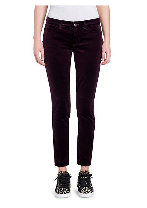 Image of Celebrating the major moment that velvet is having, these straight-leg jeans are crafted from stretch cotton and flaunt a royal burgundy hue. Finished with belt loops and a five-pocket style, these slim fit jeans hit just above the ankle and look great dr