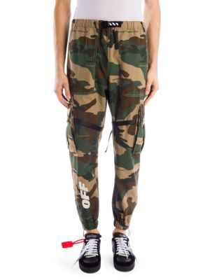 Webbing-Trimmed Camouflage-Print Cotton-Ripstop Cargo Trousers, All Over White