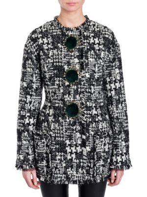 Pompom-Embellished Tweed Jacket