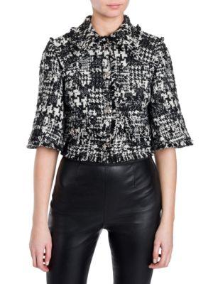 Wool-Blend Tweed Jacket in Black
