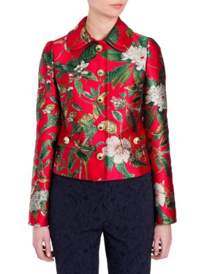 Long-Sleeve Jacquard Jacket in Red