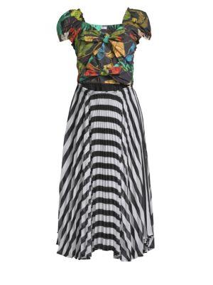 DELFI COLLECTIVE Katy Cut Out Tie Front Midi Dress in Multi