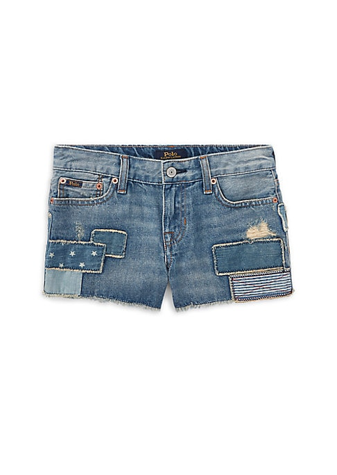 """Image of Distressed patches and frayed hems put a statement-making spin on these denim shorts. Belt loops. Zip fly with button closure. Five-pocket style. Adjustable buttoned tabs. Woven """"Polo"""" label at the coin pocket. Faux-suede """"Polo Ralph Lauren"""" label on the"""