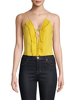 "Image of Alluring lace-up front bodysuit framed by accordion pleats Plunging neckline Lace-up front Sleeveless Spaghetti straps About 28"" from shoulder to hem Polyester Dry clean Made in USA Model shown is 5'10"" (177cm) and wearing US size Small. Contemporary Sp -"