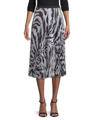 DELFI COLLECTIVE Clara Pleated Zebra-Print Midi Skirt in Multi