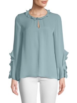 Cherie Ruffle-Trim Silk Blouse, Patina