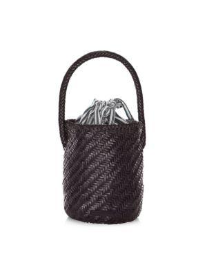 Cleo Woven Leather Bucket Bag, Black