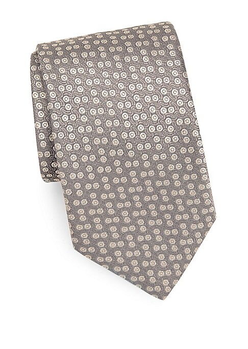 """Image of Must-have silk tie with contrasting small pattern.3.3"""" wide. Silk. Dry clean. Made in France."""