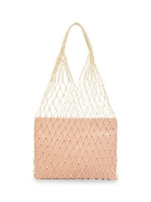 Adrienne Macramé And Leather Tote, White