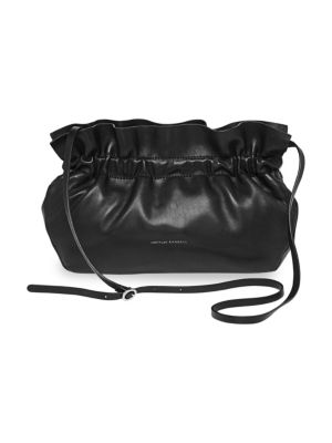 Carrie Ruffle Frame Clutch - Black