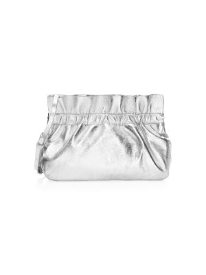 Carrie Metallic Ruffle Frame Clutch Bag