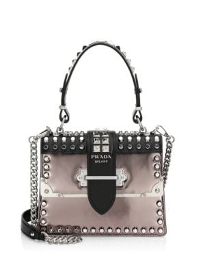 Studded Cahier Leather Top Handle Bag in Black